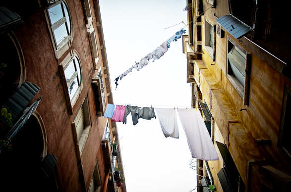 Intimacy under the Wires, Laundry, Venice, Italy, Travel