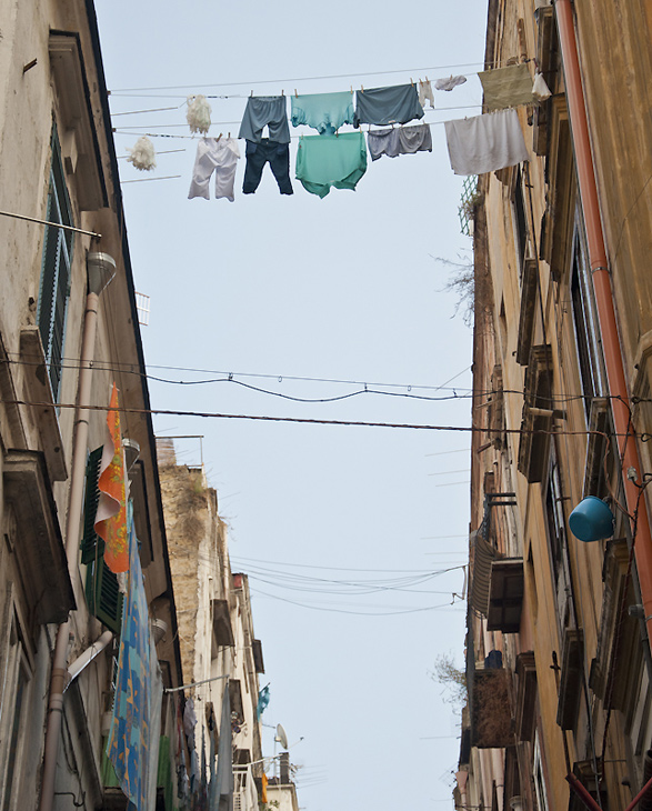 Intimacy under the wires, laundry, Italy, Naples, Napoli