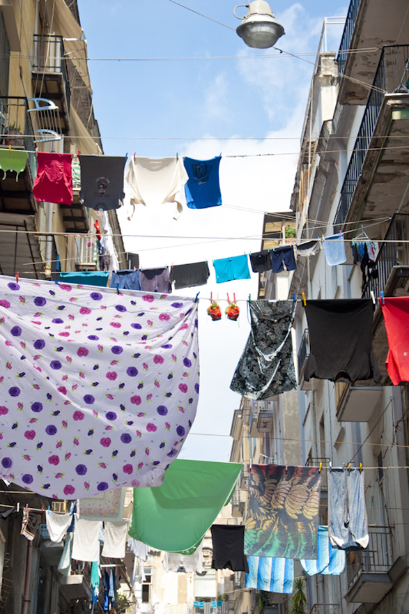 Intimacy under the wires, laundry, Italy, Naples, Napoli