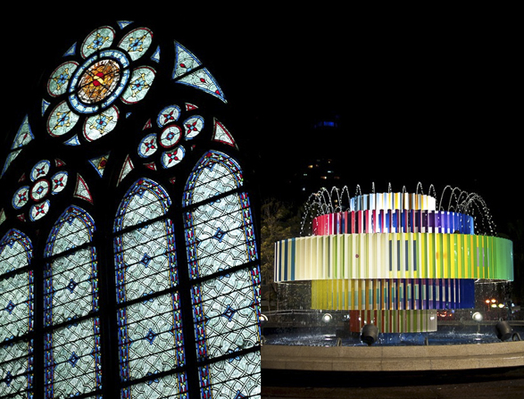 Tel Aviv vs Paris, Night Lights, Agam fountain
