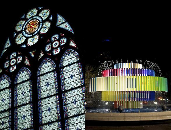Tel Aviv vs Paris, Night Lights, Agam fountain