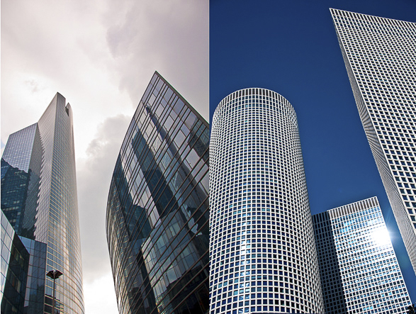 Tel Aviv vs Paris, Business Center, Azrieli Towers, business district of La Défense.