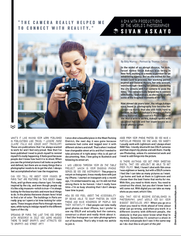 My Q+A for Resource Magazine