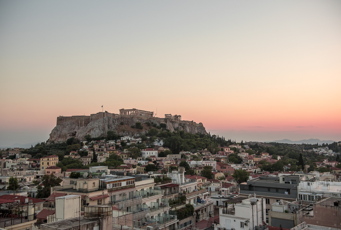 View of the Acropolis during Sunset
